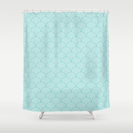 Aqua Concentric Circle Pattern Shower Curtain
