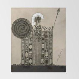 """Art Deco Sepia Illustration """"Athena"""" Throw Blanket"""