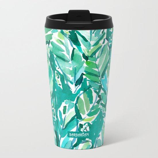 BANANA LEAF JUNGLE Green Tropical Metal Travel Mug