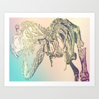 t rex Art Prints featuring T-REX  by T.E.Perry