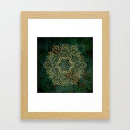 Golden Flower Mandala on Dark Green Framed Art Print