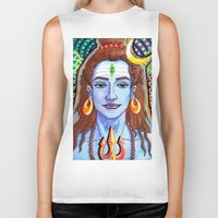 shiva Biker Tanks featuring Shiva Pop by Deepak Puri