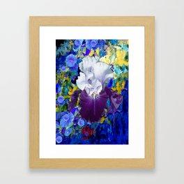Purple-white Capped Iris Blue Floral Art Framed Art Print
