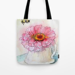 Botanical Flower Pink Zinnias in Pitcher Tote Bag