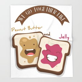 Peanut butter and jelly T-shirt, Cute unusual National Best Friends Day gift Throw Blanket