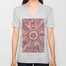 Light Pink Wildflower Sunshine I // 18th Century Colorful Pinkish Dusty Blue Gray Positive Pattern Unisex V-Neck