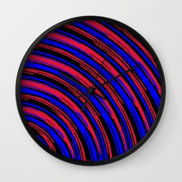 graffiti line drawing abstract pattern in red blue and black Wall Clock