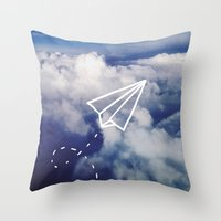 plane Throw Pillows featuring Paper Plane by Leah Flores