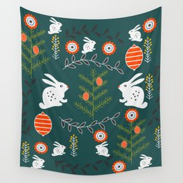 Winter holidays with bunnies Wall Tapestry