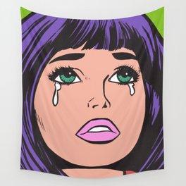 Purple Bangs Crying Comic Girl Wall Tapestry