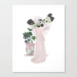 pink & plants 1 Canvas Print