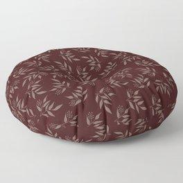 Leaves pattern - Maroon Floor Pillow