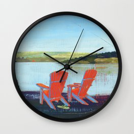 lakeview chairs - by phil art guy Wall Clock