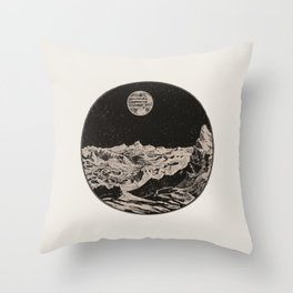 Minimalist Modern Mid Century Space View From Ship Astronomy Black & White Vintage Unique Throw Pillow
