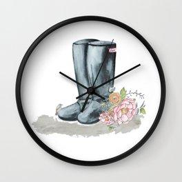Spring Rain Boots Wall Clock
