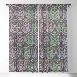 mexican wrestling mask Sheer Curtain