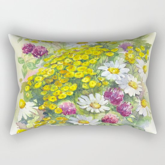 Watercolor meadow flowers spring Rectangular Pillow