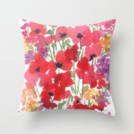 Little Red Poppy Patch Throw Pillow