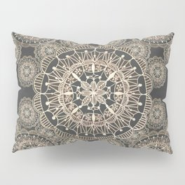 Pewter and Rose-Gold Patterned Mandalas Pillow Sham