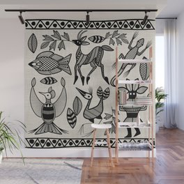 African Senufo Korhogo Tribal Ethnic Art Seamless Pattern Wall Mural