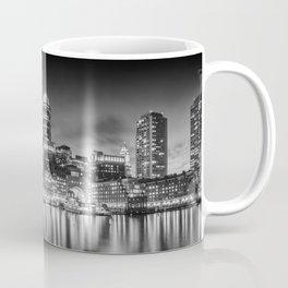 BOSTON Fan Pier Park & Skyline in the evening | Monochrome Panoramic Coffee Mug