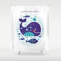 whales Shower Curtains featuring Whales by Molesko Studio