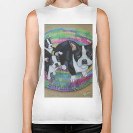 Boston Terrier and Puppies Biker Tank