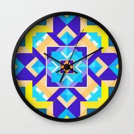 Geometric Tribal Mandala Inspired Modern Trendy Vibrant (Blue, Cobalt, Yellow, Orange, Purple) Wall Clock