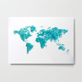 Turquoise Sea Glass World Map Metal Print