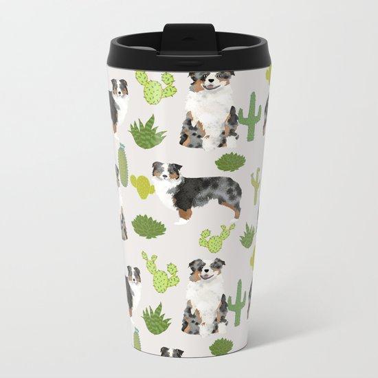 Australian Shepherd owners dog breed cute herding dogs aussie dogs animal pet portrait cactus Metal Travel Mug