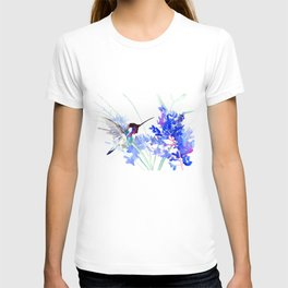 Flying Hummingbird and Blue Flowers T-shirt