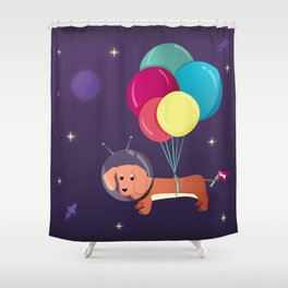 Galaxy Dog with balloons Shower Curtain