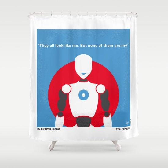 No275 My I ROBOT minimal movie poster Shower Curtain