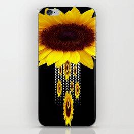 FANCIFUL YELLOW SUNFLOWERS BLACK ART iPhone Skin