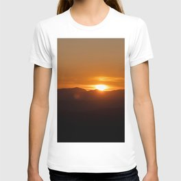 Orange sunrise, black mountains T-shirt