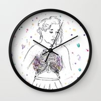 lungs Wall Clocks featuring Lungs by Sarah Hartnell