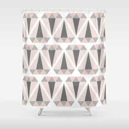 Geometric Diamond in Pink and Gray Shower Curtain
