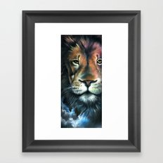 Lion in the Clouds Framed Art Print