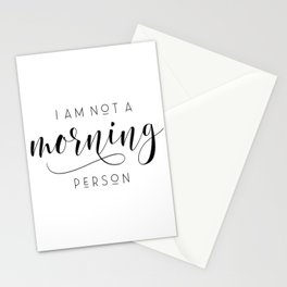 I am not a morning person typography art print poster black white wall decor design modern Stationery Cards
