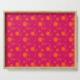 Orange Daisy Flowers on Hot Pink Background Serving Tray