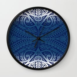 Monochromatic Polynesian Tribal design Wall Clock