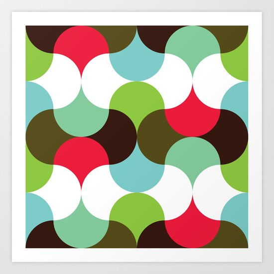 Red, green, brown curve pattern Art Print