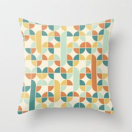 Mid Century Modern Geometric Pattern 1950s Colors Throw Pillow
