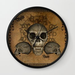 Awesome skulls with celtic knot Wall Clock