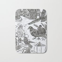 Bedford Square, Feeding pigeons lino cut Bath Mat