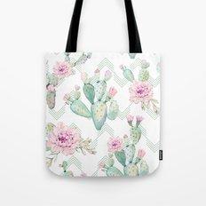 Cactus Rose Deconstructed Chevron Tote Bag