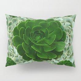 JADE & DARK GREEN SUCCULENT ROSETTES GARDEN Pillow Sham