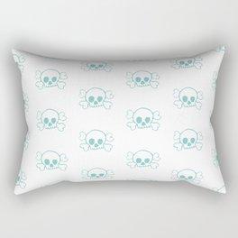 Aqua Skull and Crossbones Print and Pattern Rectangular Pillow