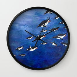 Flock of Penguins Wall Clock