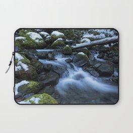 Snow, Moss, Water Over Rocks Laptop Sleeve